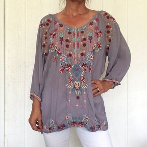 JOHNNY WAS GRAY EMBROIDERED BUTTON TUNIC XL